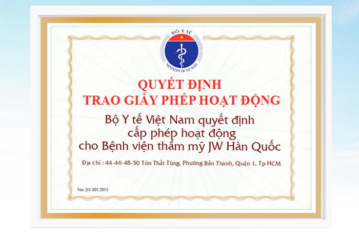 Giấy phép hoạt động thẩm mỹ được Bộ Y tế cấp cho Bệnh viện thẩm mỹ JW Hàn Quốc
