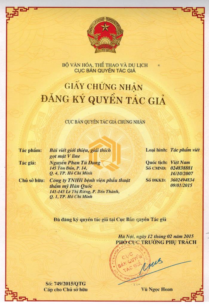 Bản quyền gọt mặt V line của TS. BS Nguyễn Phan Tú Dung