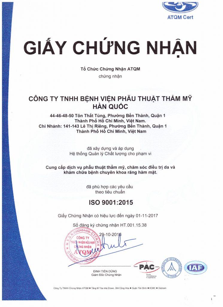 Giấy chứng nhận ISO 9001:2015 mới nhất tại Bệnh viện thẩm mỹ JW